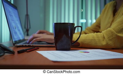 Girl Studying At Night Spilling Coffee On Homework - Young...