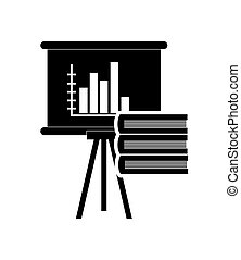 graph chart and book stack icon