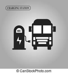 Electric truck charging station icon