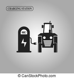 Electric tractor charging station icon