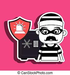 criminal box safe security vector illustration eps 10