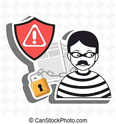 confidencial segurity information doc vector illustration...