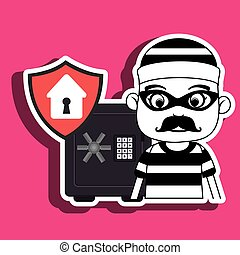 criminal box safe security vector illustration eps 10