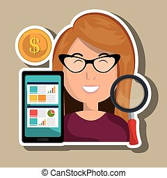 woman smartphone coins icon vector illustratin eps 10