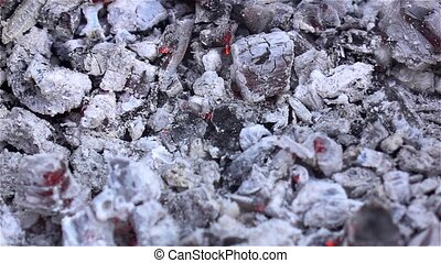 White ash Smoldering embers in the fire Close up -...