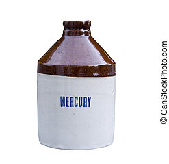 mercury crock jug - vintage crock jug with mercury printed...