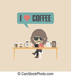 retro coffee lover - man drinking coffee with unplug method,...