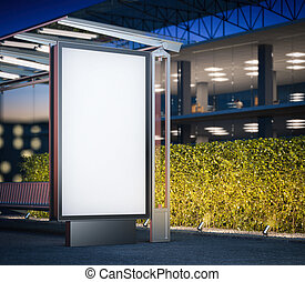 Modern bus stop with blank billboard at night. 3d rendering...