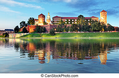 Krakow - Royal castle Wawel at night, Poland