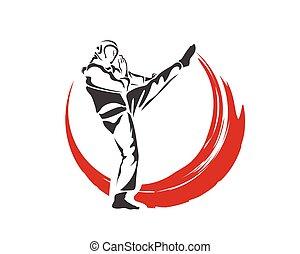 Fast Action Defense Kick Flame - Aggressive Taekwondo...