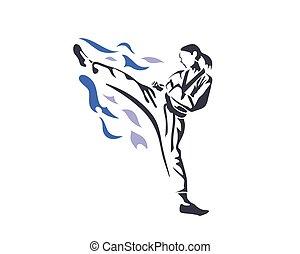 Female Athlete On Fire Practice - Aggressive Taekwondo...