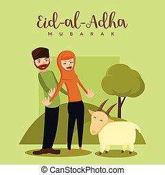 Love Qurban - Muslim Couple Eid Al Adha Greeting Card - Love...