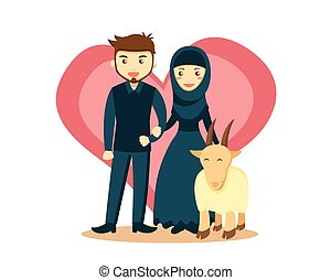 Love Qurban - Isolated Muslim Couple Eid Al Adha Character -...