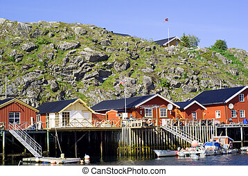 Cottages on island Skrova on Norwegian Lofoten Islands