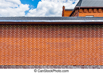 Red brick fence. - Red brick fence around the big luxury...