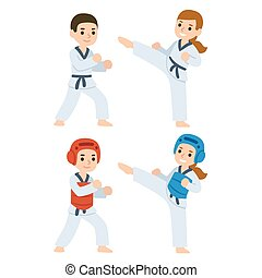 Taekwondo cartoon kids - Boy and girl fighting in kimonos...