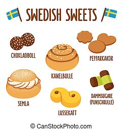 Swedish sweet set - Traditional swedish sweets. Chokladboll...