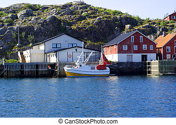 The moored boat on island Skrova in Norway