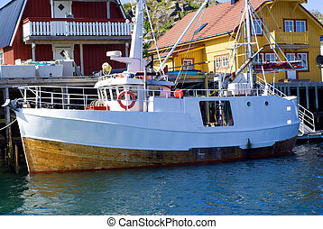 The moored boat on island Skrova in north Norway