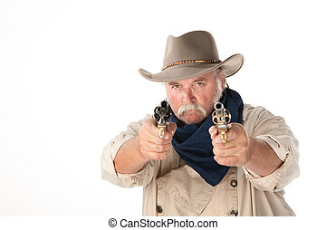 Big cowboy pointing two pistols on white background