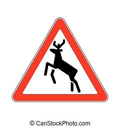 Road Sign Warning Wild Animals on White Background