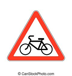 Road Sign Warning Pathway Bicyclist on White Background