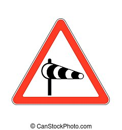 Road Sign Warning Crosswind on White Background