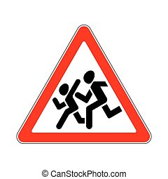 Road Sign Warning Children on White Background