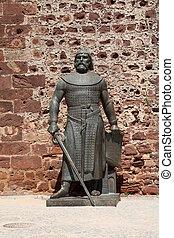 silves,  portugal, caballero,  Algarve, estatua, castillo