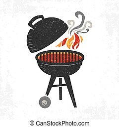 BBQ Grill Cooking with Smoke and Fl