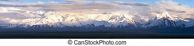 Panoramic view of Pamir mountain - Zaalay valley -...