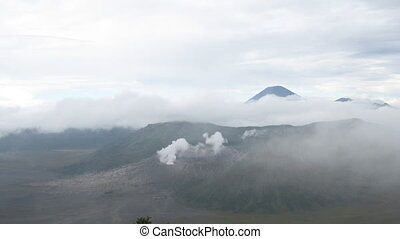 Indonesian volcanos lanscape timela - Bromo, Batok and...