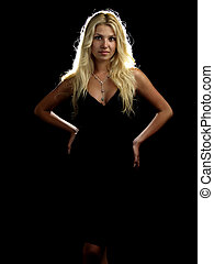 Hot blonde in black dress - Beautiful blonde young lady in...