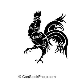 Black rooster on white background