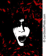 assustador, e, sangrento, arrepiado, mulheres, rosto