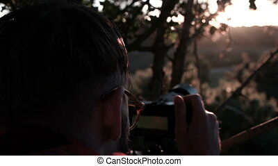 Photographing at sunset