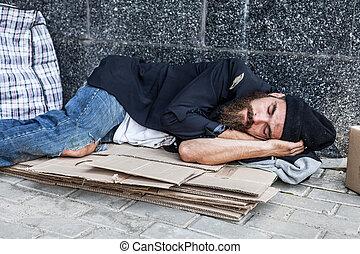 Vagrant sleeping outside