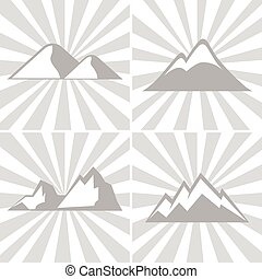 Mountain gray icons on striped background. Mountaineering...