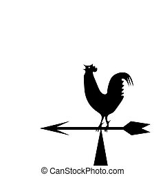 Weather vane in the form of a rooster - Vector image of an...