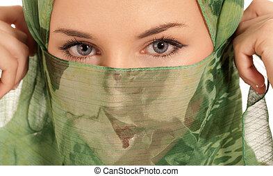 jovem, árabe, mulher, véu, mostrando, dela,...