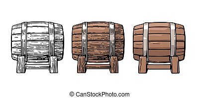 Wooden barrel. Color vintage engraving and flat vector...