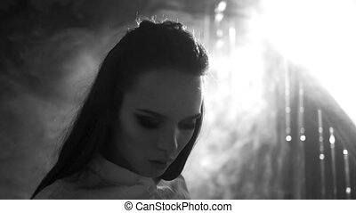 Sexy school girl cinematic black and white scene portrait...