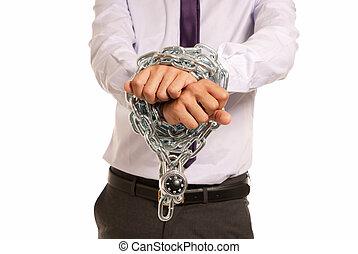 homme affaires, mains, fettered, chaîne, cadenas,...