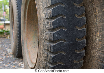 Truck tire with dust - Truck car tire with soil dust so...