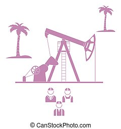Stylized icon of the equipment for oil production with palm trees and three silhouette of oil worker