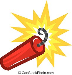 Cartoon Stick of Explosive Dynamite TNT with Lit Fuse