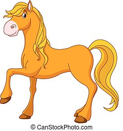 Golden horse - Illustration of cartoon beautiful golden...