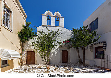 Paros island, Cyclades, Greece - White church in Parakia,...