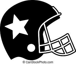 fútbol, casco, vector, icono