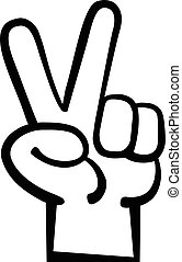 Hand peace sign cartoon
